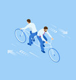 isometric competition businessman on bicycle vector image vector image