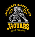 jaguar custom motors club t-shirt logo on vector image