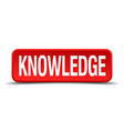 knowledge red 3d square button isolated on white vector image
