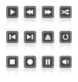Media player square buttons set vector image