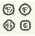 Monogram style linear with the letters e f h g vector image vector image