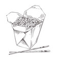 packed noodle and chopsticks vector image vector image