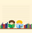paper template with boys reading books vector image vector image