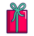 pink gift box icon cartoon style vector image vector image
