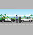 policeman and police patrol on a road with vector image vector image