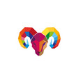polygonal ram head logo vector image
