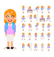 pupil girl school children student in different vector image