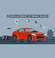 replacement brake shoes flat vector image vector image