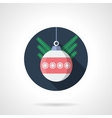Round flat color icon for Christmas ball vector image