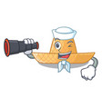 sailor with binocular straw hat in a wooden vector image