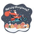 santa claus with a gift riding motorbike vector image vector image