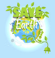 save earth logo design with planet electric plug vector image vector image