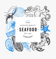 seafood and fish design template hand drawn vector image vector image