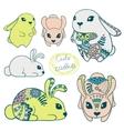 set cute rabbits vector image