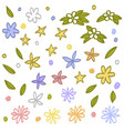 set of floral elements hand drawn vector image
