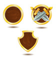 set of wooden shields with golden frame and swords vector image