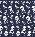 skull and bone seamless pattern on blue vector image