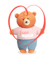 teddy bear hugging holding valentine gift heart vector image