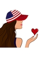 USA patriot girl with a heart vector image vector image