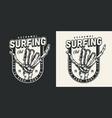 vintage monochrome surfing label vector image