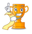 with menu champion golden trophy on cartoon table vector image