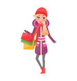 woman in purple winter coat with packages in hands vector image