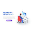 workplace design concept with sitting man vector image vector image