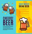 beer in glass mugs set banner vector image