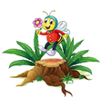 A wood with a bee holding a flower vector image vector image