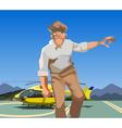 abstract cartoon man in uniform comes vector image vector image