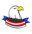 bald eagle with usa flag icon cartoon vector image vector image