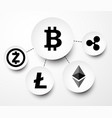 bitcoin and cryptocurrency symbols on white vector image