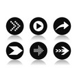 black arrow icons collection of round flat icons vector image