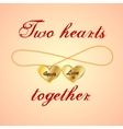 Card with opened golden medallion of two hearts vector image vector image
