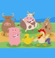 cartoon farm animal comic characters vector image vector image