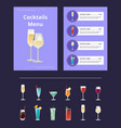 cocktail menu advertisement poster champagne glass vector image vector image