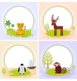 deer bird penguin jaguar leopard set of cards vector image vector image