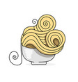 delicious pasta in a plate logo for packaging vector image vector image
