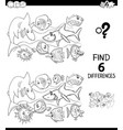 differences color book with happy fish characters vector image vector image