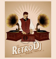 dj retro style with mustache vest bow tie and vector image vector image