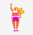 dumbbell for fitness girl plus size health sport vector image vector image