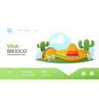 fiesta mexican party landing page template vector image