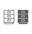 filling cabinet line and glyph icon office vector image vector image