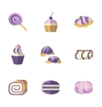 Flat color icons for pastry vector image vector image