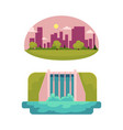 flat hydro power station green city vector image vector image