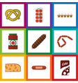 flat icon food set of tomato cookie eggshell box vector image vector image
