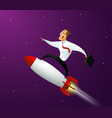 happy businessman standing on rocket ship vector image