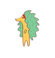 hedgehog girl with green needles in profile vector image vector image