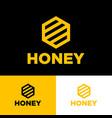 honey logo organic product yellow honeycomb vector image