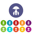 insurance family icons set color vector image vector image